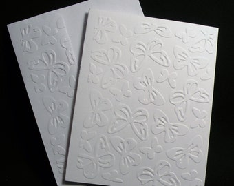 Butterflies Embossed Note Cards - Set of 5, Butterflies Notecards, Blank Cards, Thank You Cards, Stationary cards