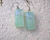 Pastel Green Earrings, Dangle Drop Earrings, Dichroic Earrings, Glass Earrings, Fused Glass Jewelry, Sterling Silver Earrings,  081316e100