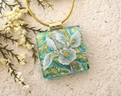 Petite Emerald Green Iris, Dichroic Jewelry, Fused Glass Jewelry, Dichroic Glass Pendant, Gold Necklace, Iris Gold Necklace, 010916p113