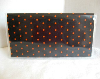 Checkbook Cover - Duplicate Checkbook Cover - Black with Orange Dots - Vinyl Checkbook Holder - Money Gift Holder