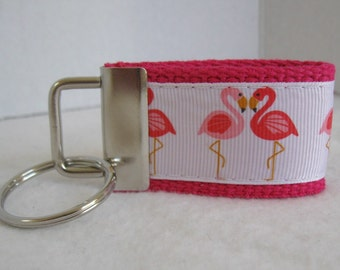 Mini Key Fob Flamingo - PINK Key Chain - Flamingos Small Keychain - Flamingo Zipper Pull - Flamingo Key Ring