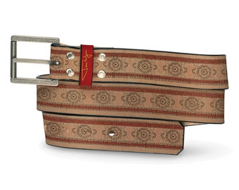 Albino Prince Leather Belt, Royal Belt, Leather Belt Indian Pattern