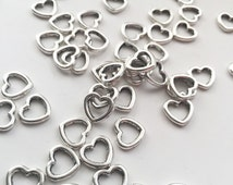 20 Silver Heart Pendant Charms - Heart Connectors