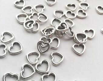 20 Silver Heart Pendant Charms - Heart Connectors