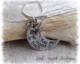 Love you to the moon and back personalized custom Hand Stamped Pendant and chain NC024