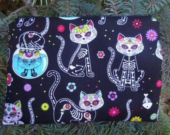 Day of the Dead cats zippered bag, make up bag, cosmetic case, accessory bag, The Scooter