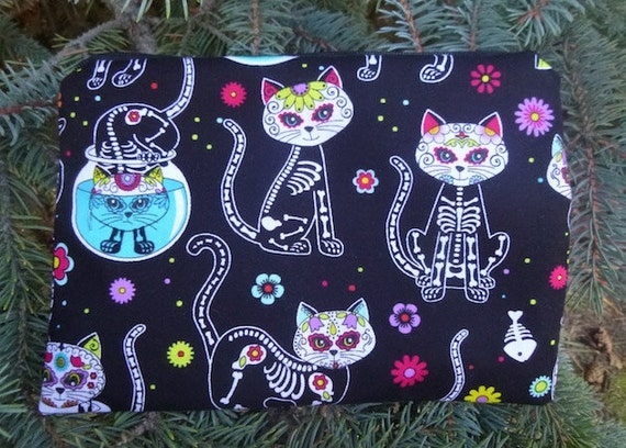 Day of the Dead Cats Zippered Make Up Bag