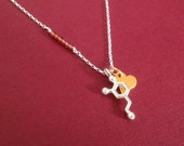 tiny dopamine necklace with gold heart and garnets - a Valentines Day special