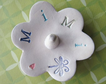 Colorful Letters Mimi ring dish -  Ready to Ship pottery gift  - Jewelry organizer for Mimi