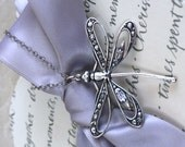 Dragonfly Pendant Necklace - Silver plated brass, Verdigris patina, Openwork