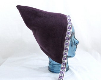 Purple Fleece Toddler Pixie Hat Reversible to Gray Fleece with Purple Floral Jacquard Trim - Size 3 - 6 Years