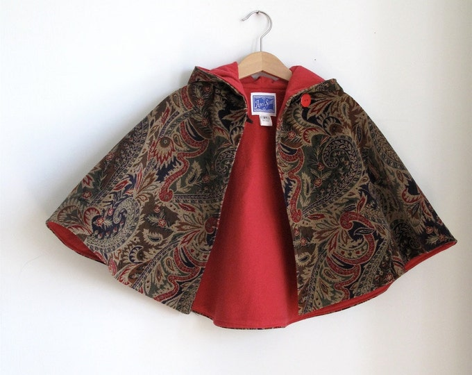 Girls Cape, Toddler Cape, Baby Cape, Paisley Corduroy with Red Lining, Cape, Cloak, Coat, Jacket, Capelet, Hoodie, Poncho, Newborn to 9/10