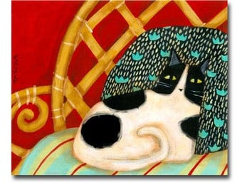Cat Folk Art Painting Black and White Spotted Cat on Fancy Pillow bamboo chair cat portrait painting ORIGINAL by Tascha 10 x 8