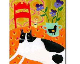 ORIGINAL cat folk art painting TUXEDO cat on table with violets and black bird pot TASCHA original 10x8