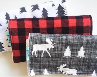 Boy burp cloths - red buffalo plaid burp cloth - 3 burp cloths - Lumberjack burp cloth - moose burp cloth - red plaid burp cloth -Lumberjane