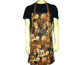 All Over Dog Print Apron, Adjustable with Pocket, Pet Lover, Puppies