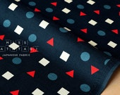 Japanese Fabric Corduroy shapes - navy blue - 50cm