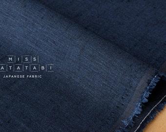 Japanese Fabric 100% linen - indigo and subtle black -  50cm