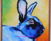 """SALE Original Big Blue Bunny Oil Painting 12""""x12"""" with a slat frame"""
