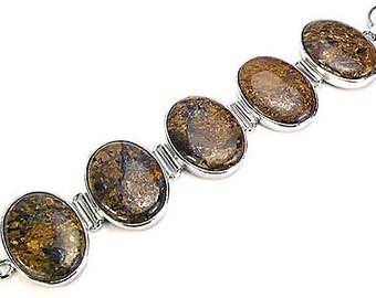 Sale: Big Brown Jasper and Sterling Silver Bracelet