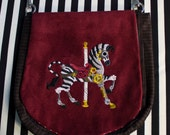 Pouch Spare Pocket Embroidery Steampunk Carousel Zebra