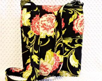 Crossbody Bag - Medium Messenger Bag - Hobo Bag Purse - Shoulder Bag - Handmade Crossbody - Chartreuse Green and Red Cottage Floral Purse