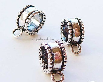 3 pcs Oxidized Patina 925 Sterling Silver Large Hole Charm Holder F377