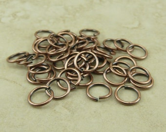 50 TierraCast 5mm ID 19g Jumprings Jump Rings > Charm Pendant Attachment Copper Plated Brass - I ship Internationally 0025