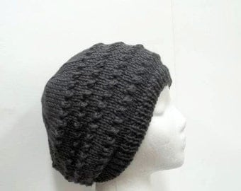 Dark gray hand knitted beanie with eyelets   5261