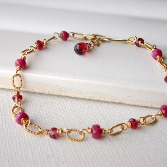 Ruby and Garnet Link Bracelet