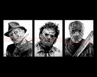 "Prints 8x10"" - Leatherface Jason Voorhees Freddy Krueger Horror Movie Vintage Slasher Gothic Scary Spooky Serial Killer Texas Chainsaw Pop"
