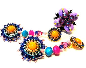 """Flower fantasy clip earring, """"Back to Couture"""" collection, orange, yellow, blue, pink, purple, black gold tones, rhinestone clip earrings"""