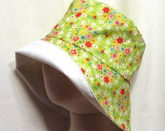 Green Floral Sunhat with SPF50+ Lining Fabric and Velcro Straps 7 SIZES!