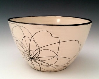 Ceramic Serving Bowl,  Pottery Fruit Bowl, Salad Bowl, Pasta Bowl, Colorful Floral Bowl, Porcelain Bowl