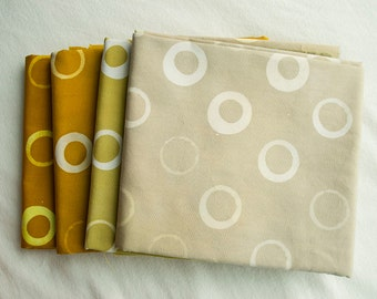 Bubble Hand Patterned and Dyed Cotton Fat Quarter and Half Yard Bundles/ Neutrals