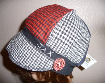 Medium large Jax Hats, black and red suit hat, upcycled hat, recycled clothing hat, chemo hat,  newsboy cap, flapper, houndstooth