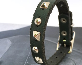 EcoFriendly Leather Dog Collar with Silver Studs on Teal Blue Tattered Edge Leather, Size XXS, to fit a 6-8in Neck, OOAK