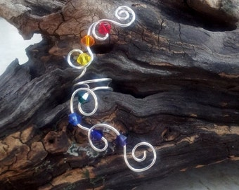 ON SALE Rainbow Crystal Ear Cuff No Piercing Required Nickel Free Ear Cuff, Chakra Jewelry Gift Idea for Her, Stocking Stuffer