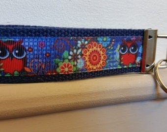 4 1/2 inch Owls blue and red Key Fob