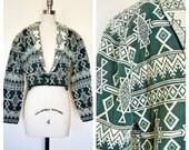 tribal crop coat / aztec print short coat / medium