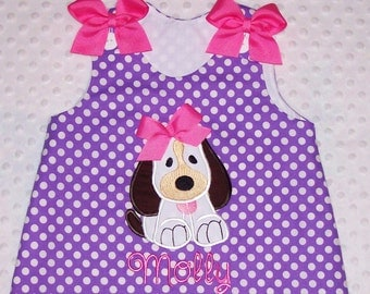 Cute Puppy Dog Applique with Hot Pink Bow Monogram Purple Polka Dot A-line Dress - birthday party dress - school dress - pre-k dresss