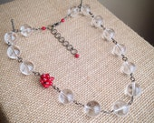 Quartz Crystal Necklace with Asymmetrical Red Coral Cluster Accent
