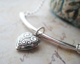 Heart Necklace, Sterling Silver, Slider Charm, Bar Necklace, Add a Charm, Fancy Heart Charm, Rolo Chain, candies64