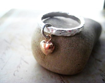 Heart Ring, Mixed Metals, Gold Heart Charm, 14k Gold Fill, Fine Silver, Textured Silver, Mixed Metals, Gold Charm, Charm Ring, candies64