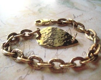 Gold Brass Bracelet, Textured Brass, Vintage Teardrop, Printed Brass Links, Brass Link Chain, 14k Gold Fill Clasp, Womens Jewelry, candies64