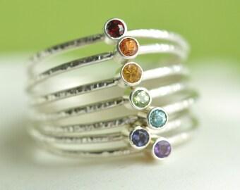 chakra rings - rainbow rings -  skinny stacking rings set of 7 - gemstone rings in sterling silver