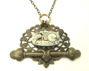 Steam Bar ... Steampunk Watch Movement  Victorian One of a Kind Pendant