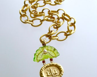 Intaglio Peridot Green Venetian Glass Shell Rubies Pearls Pendant Necklace - Irvina Necklace