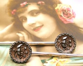 Azalea Antique BUTTON hair pins, Victorian flowers with copper on silver bobby pins, hair grips.