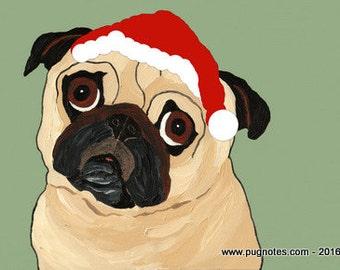 Holiday Pug Cards - Festive Fawn Pug - HA92